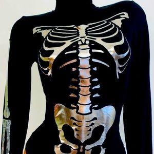 Gaze DTLA metallic skeleton bodysuit black foil